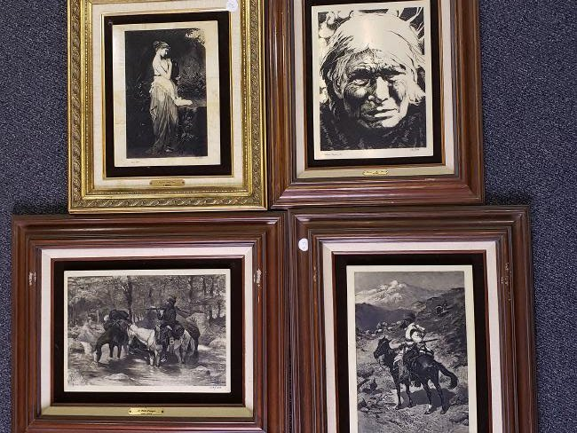 Group of 4 Engraved Plaques - Western / Victorian scene