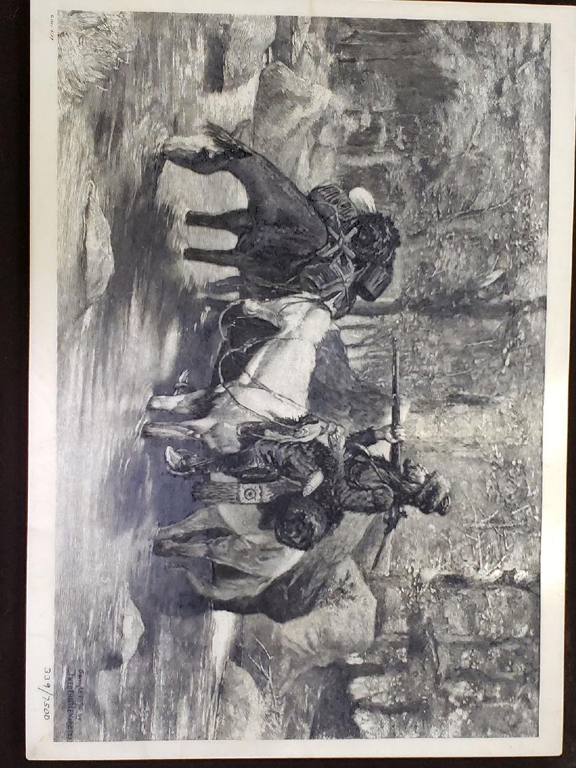 Group of 4 Engraved Plaques - Western / Victorian scene - 7