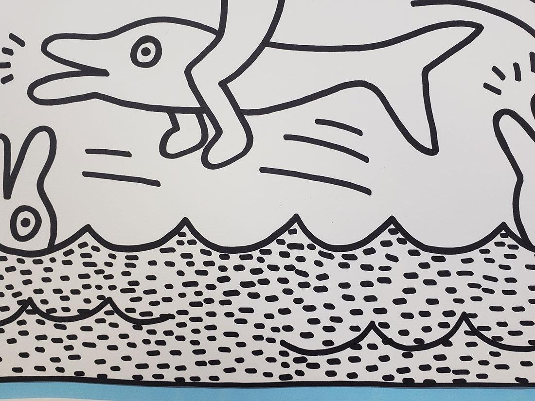Contemporary Keith Haring - Magic Marker-Paper Dolphin - 8