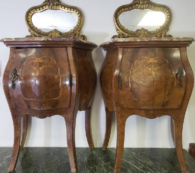 Pair of French Burled Walnut Chests / Marble top/Mirror