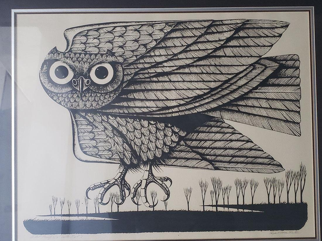 Eugene Ames Baker Owl Lithograph, signed & numbered