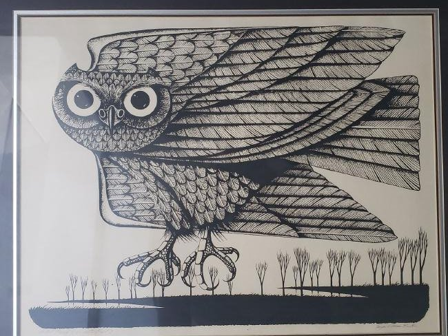 Eugene Ames Baker Owl Lithograph, signed & numbered - 2