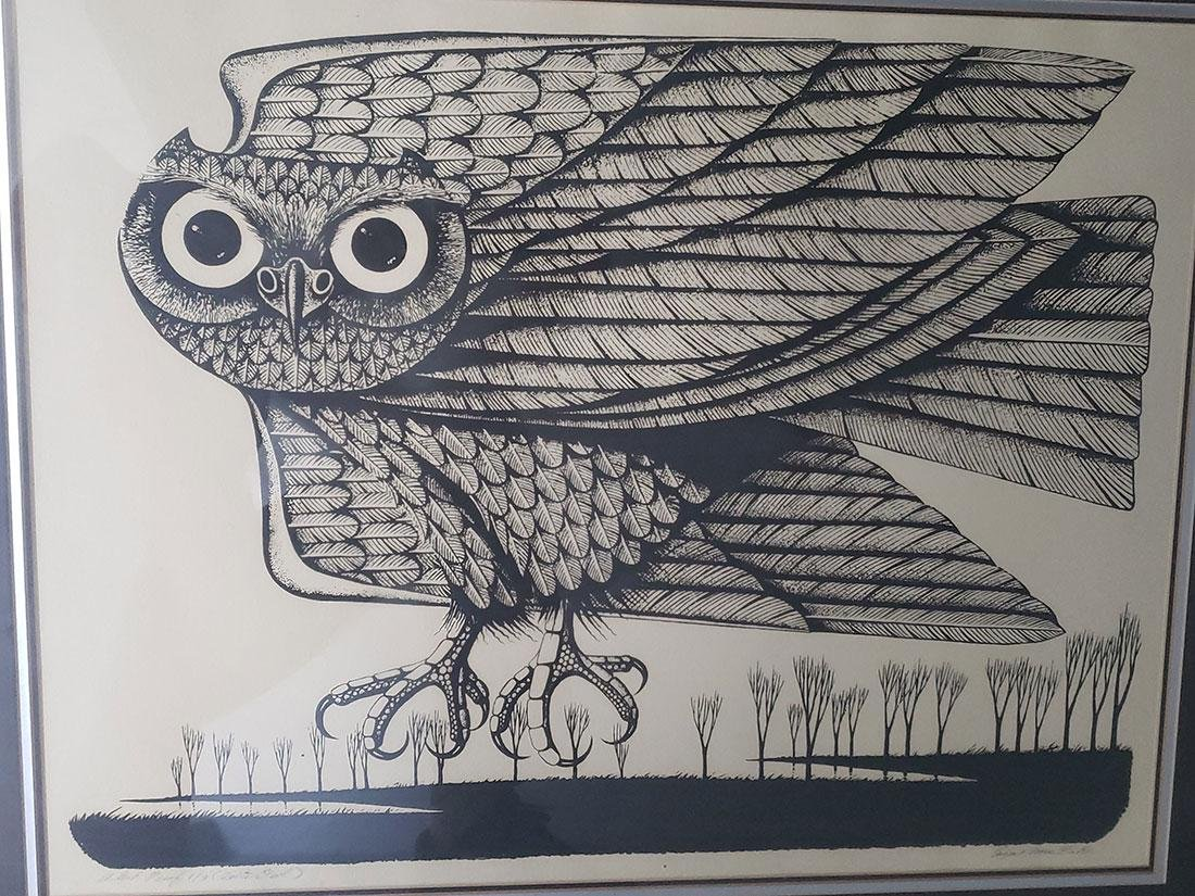 Eugene Ames Baker Owl Lithograph, signed & numbered - 3