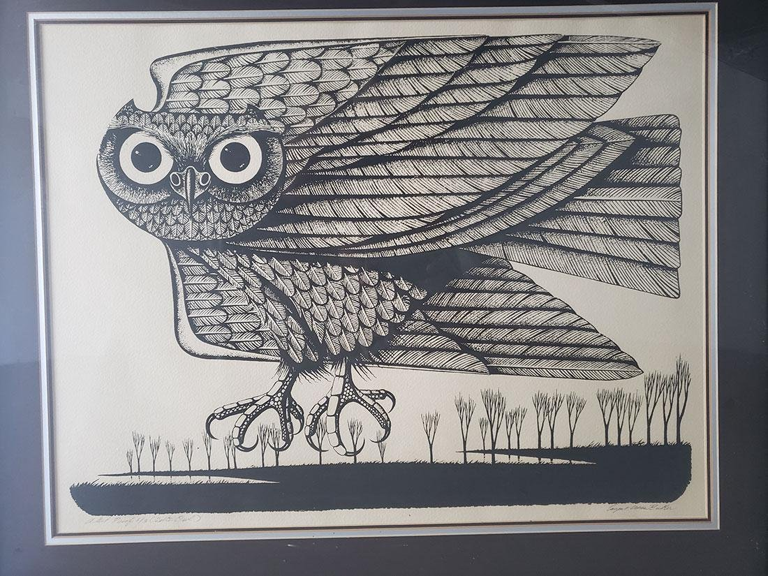 Eugene Ames Baker Owl Lithograph, signed & numbered - 4