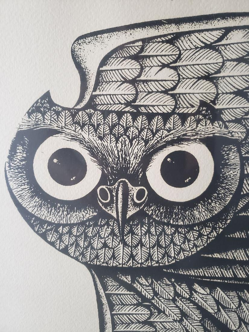 Eugene Ames Baker Owl Lithograph, signed & numbered - 9
