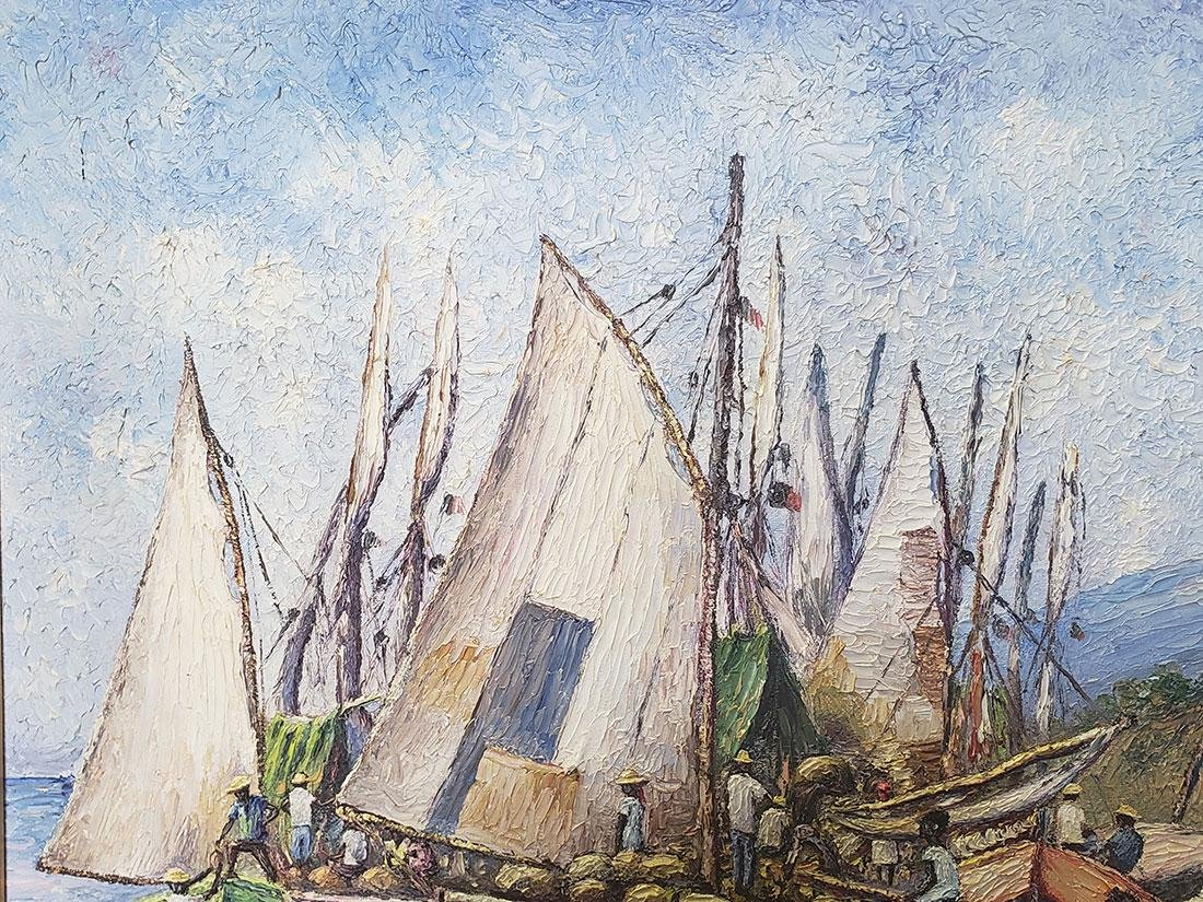 Oil on Canvas Ernst Louizor Seascape Haitian Artist - 10