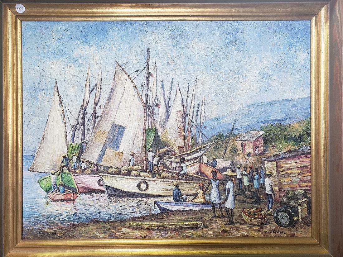 Oil on Canvas Ernst Louizor Seascape Haitian Artist
