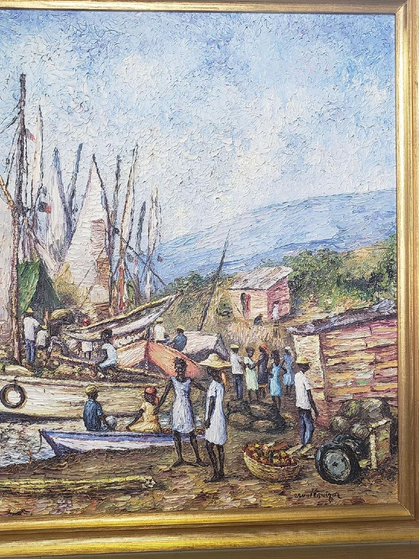 Oil on Canvas Ernst Louizor Seascape Haitian Artist - 3
