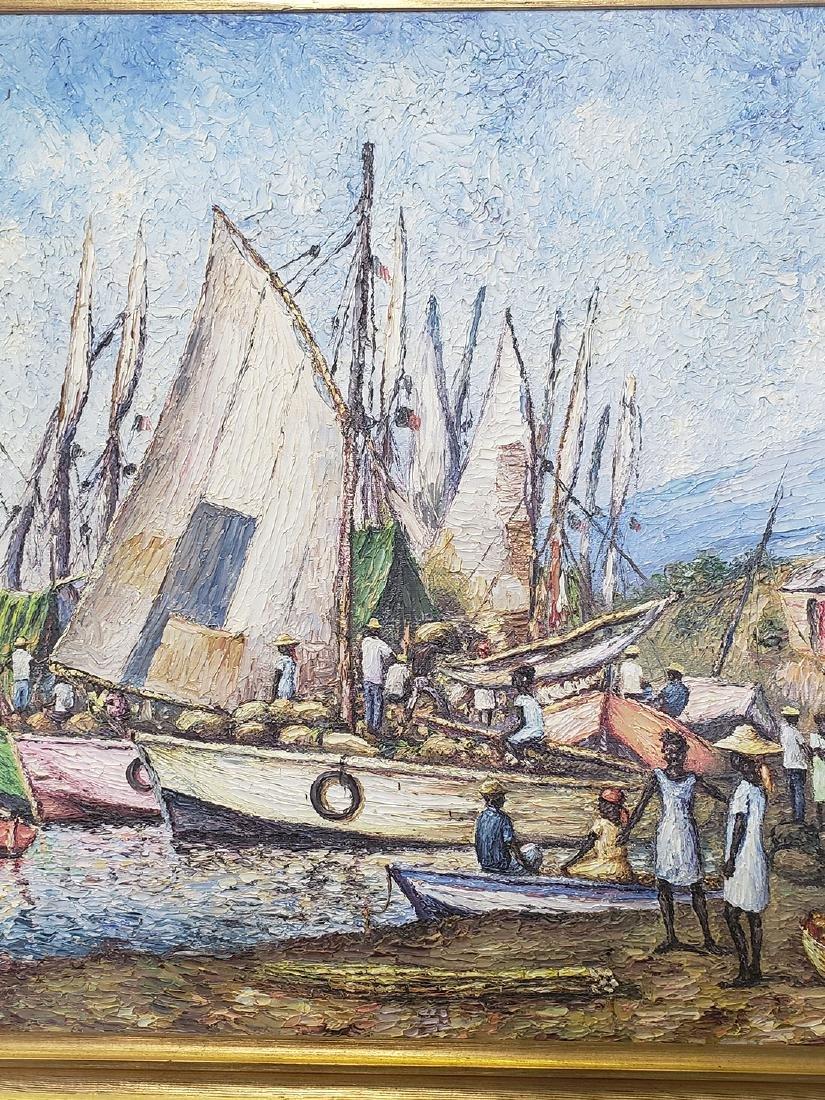 Oil on Canvas Ernst Louizor Seascape Haitian Artist - 4