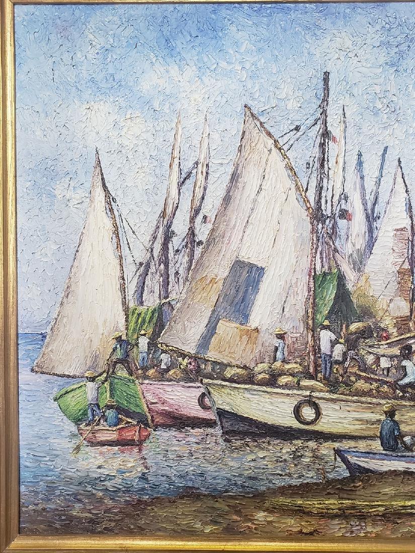 Oil on Canvas Ernst Louizor Seascape Haitian Artist - 5