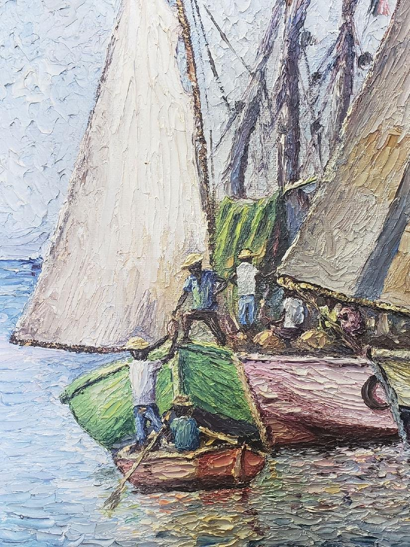 Oil on Canvas Ernst Louizor Seascape Haitian Artist - 6