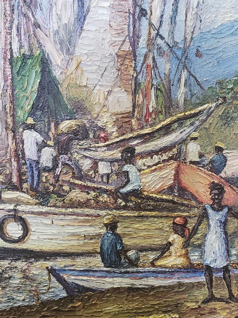 Oil on Canvas Ernst Louizor Seascape Haitian Artist - 7