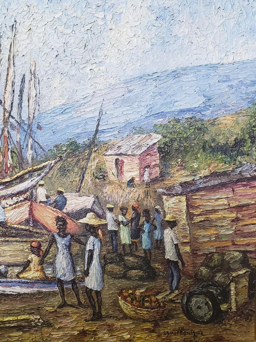 Oil on Canvas Ernst Louizor Seascape Haitian Artist - 8