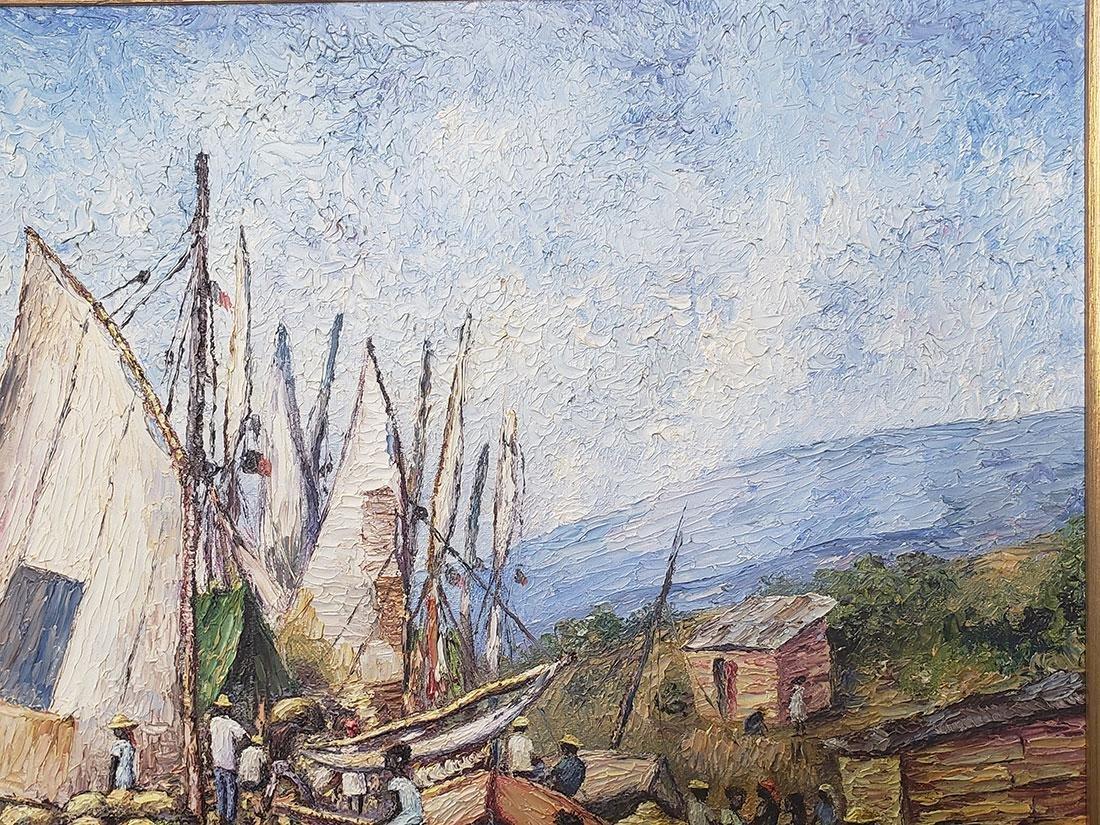 Oil on Canvas Ernst Louizor Seascape Haitian Artist - 9