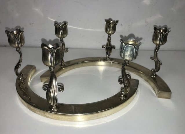 Georg Jensen Sterling Tulip Candle Holders