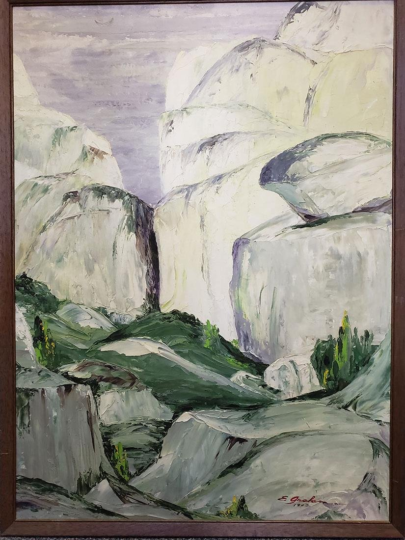 Oil on Board Painting Elwood Graham - Landscape