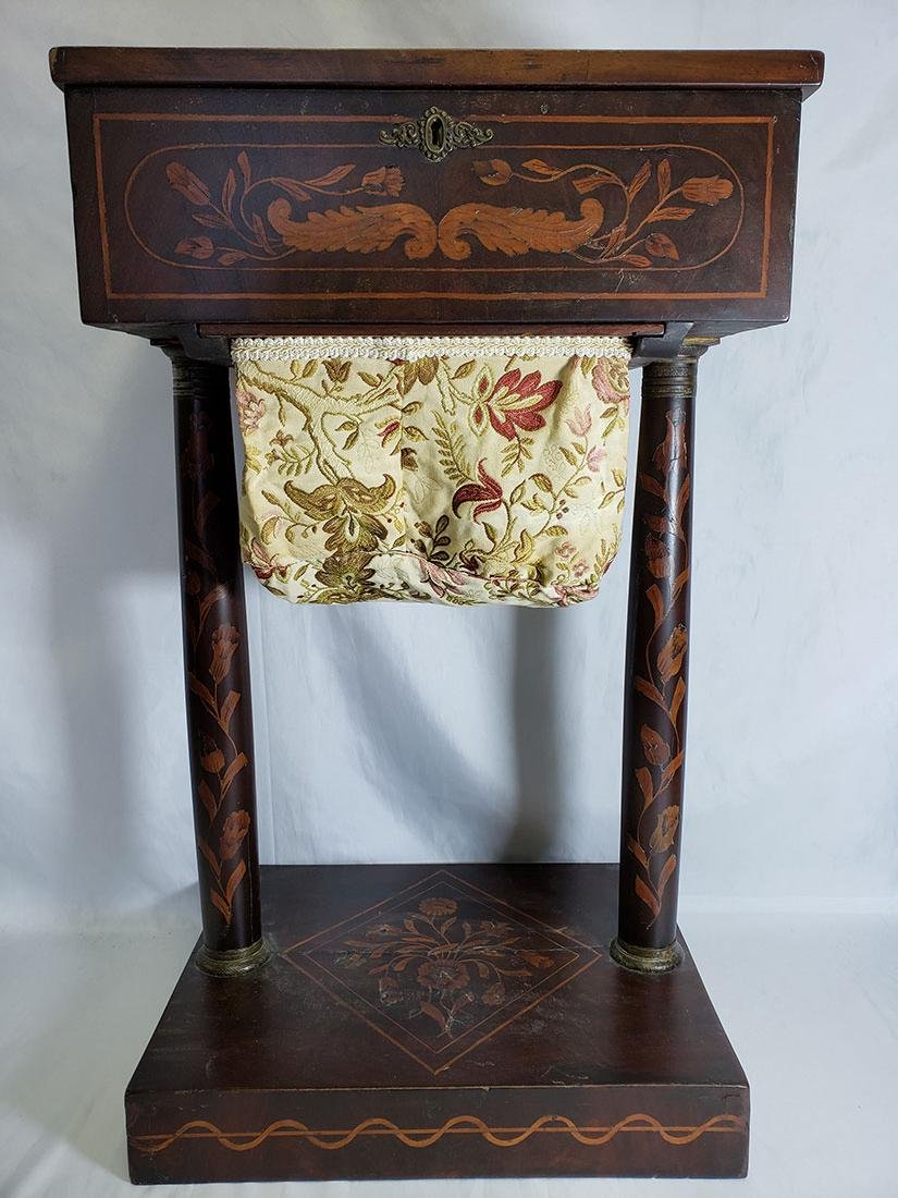 Dutch Marquetry Sewing Stand, Lovely Inlay w/ Interior