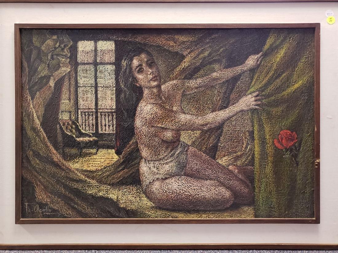 Oil on Canvas Nude, Jose Maria Fernandez Aguillo 1970