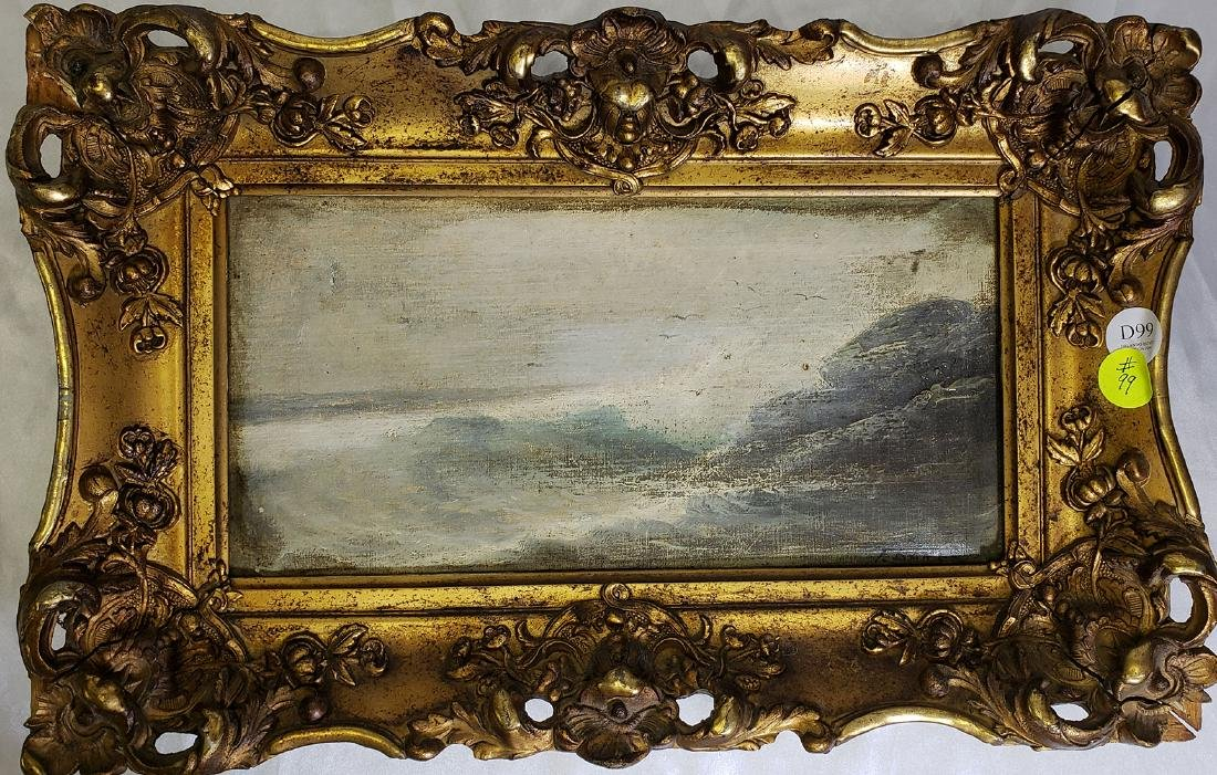 "F. Baker Oil on Canvas ""Rocky Shore Seascape"""
