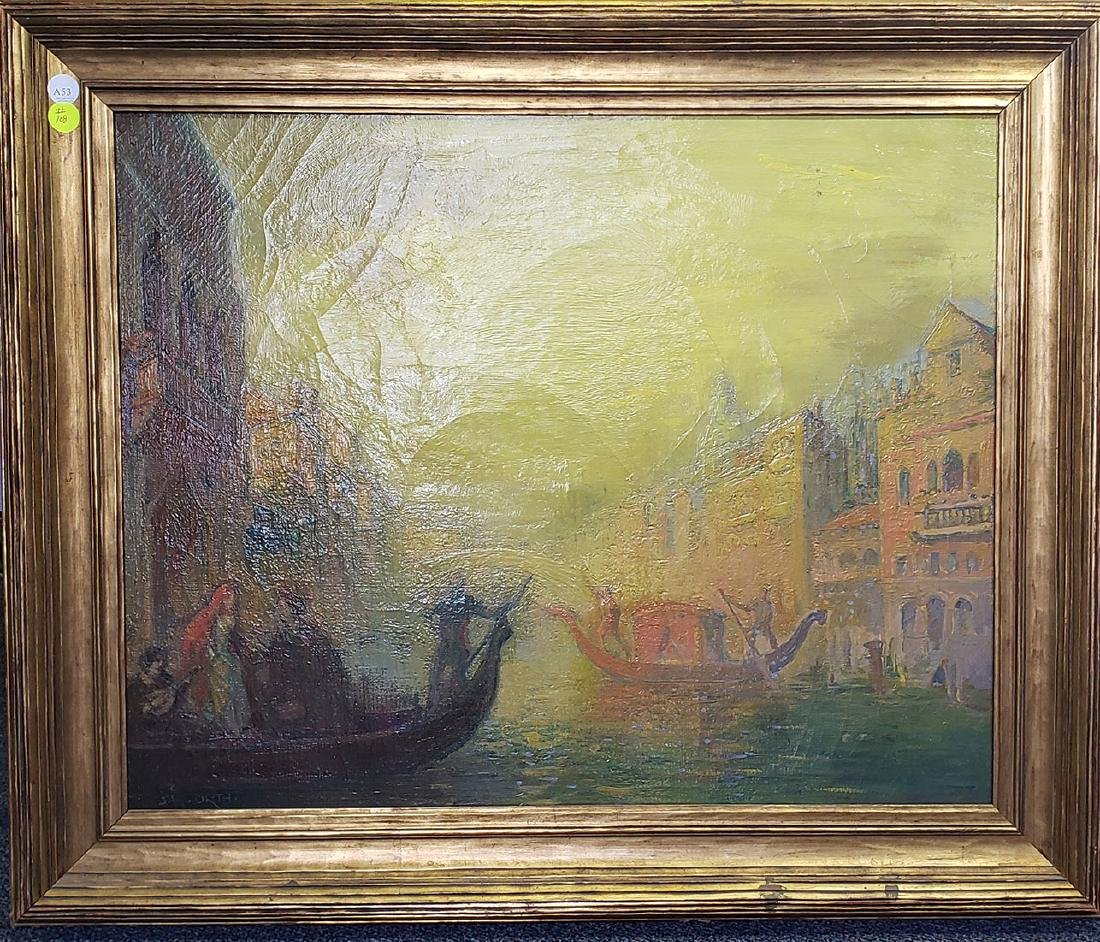 Oil on Canvas J.W.  Orth Venice Canal Scene