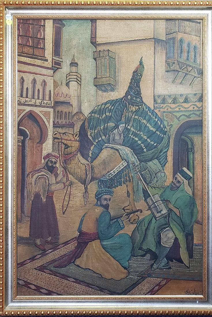 Oil on Canvas Orientalist Painting Middle Eastern Scene