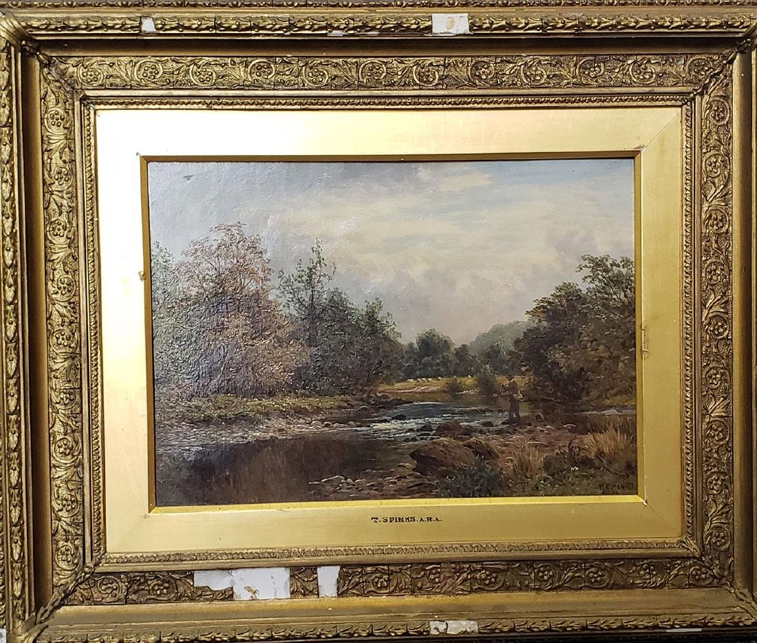 Thomas Spinks Oil on Canvas Painting England Fisherman