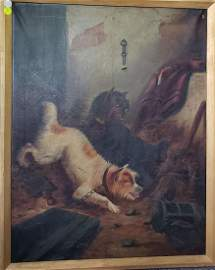 "Oil on Canvas E. Armfield Painting ""Dogs"""