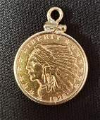 1928 2 1/2 Dollar Gold Piece in 14K Bezel - 5.3 grams