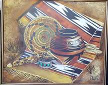 LG O/C Native American Painting, Signed Collins