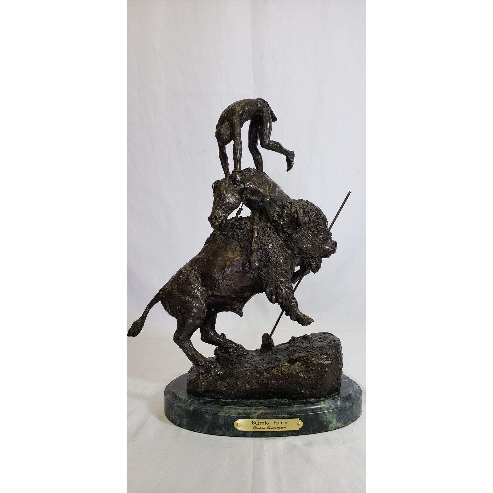"Frederic Remington Bronze ""Bronco Horse"" Sculpture"