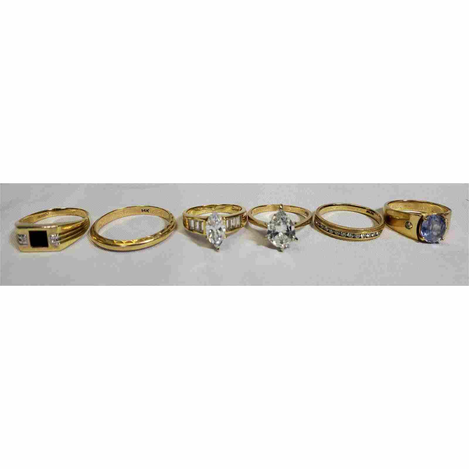Estate lot 14k Gold Rings Gemstones & Diamonds 22.7 gr.