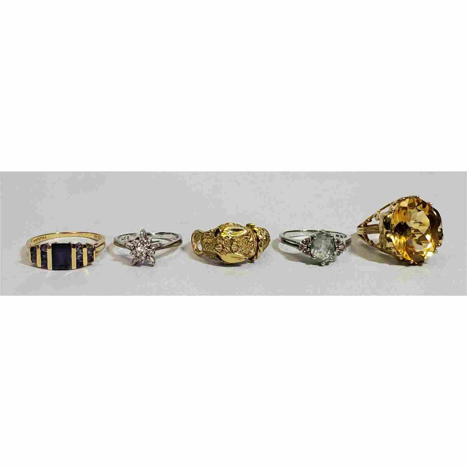 (5) 14 k Gold Estate Rings w/ Gemstones 18.8 Grams
