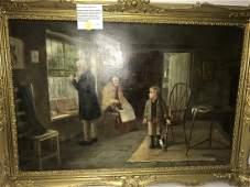 David W. Haddon Oil on Canvas Interior Scene 1884-1914
