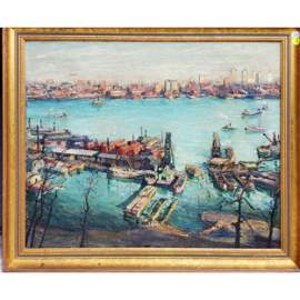 Max Kuehne Oil on Canvas New York Harbor