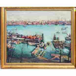 Max Kuehne Oil on Canvas New York Harbor