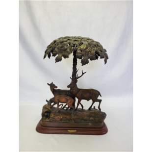 Antique French Metalware Lamp Stag & Fawn Sous Bios