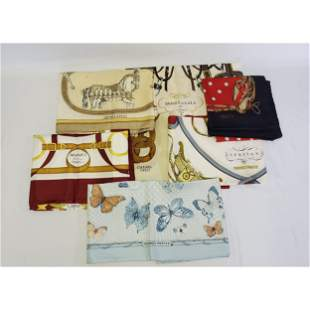 7 Silk Scarf lot. France, Gucci, Hermes, Chanel