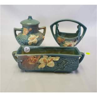 3 Pcs Roseville Magnolia Art Pottery