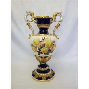 Large Meissen Vase w/Ornate Gilded Handles