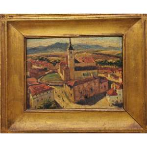 """Max Kuehne 1920 Oil Painting """"Spanish Town"""""""