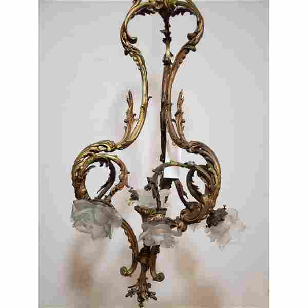 French Bronze Chandelier w/Frosted Shades