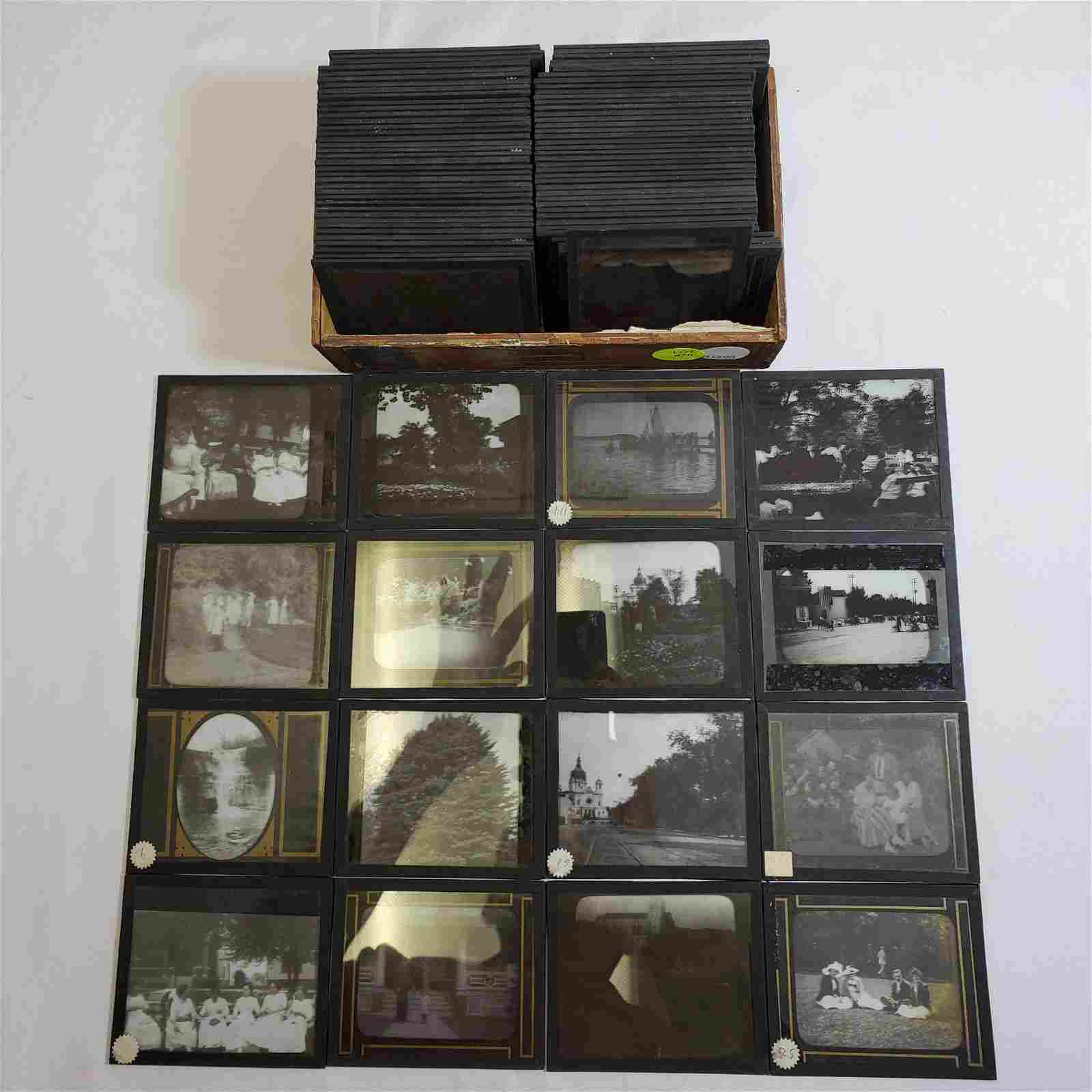 92 Antique Magic Lantern Glass Slides