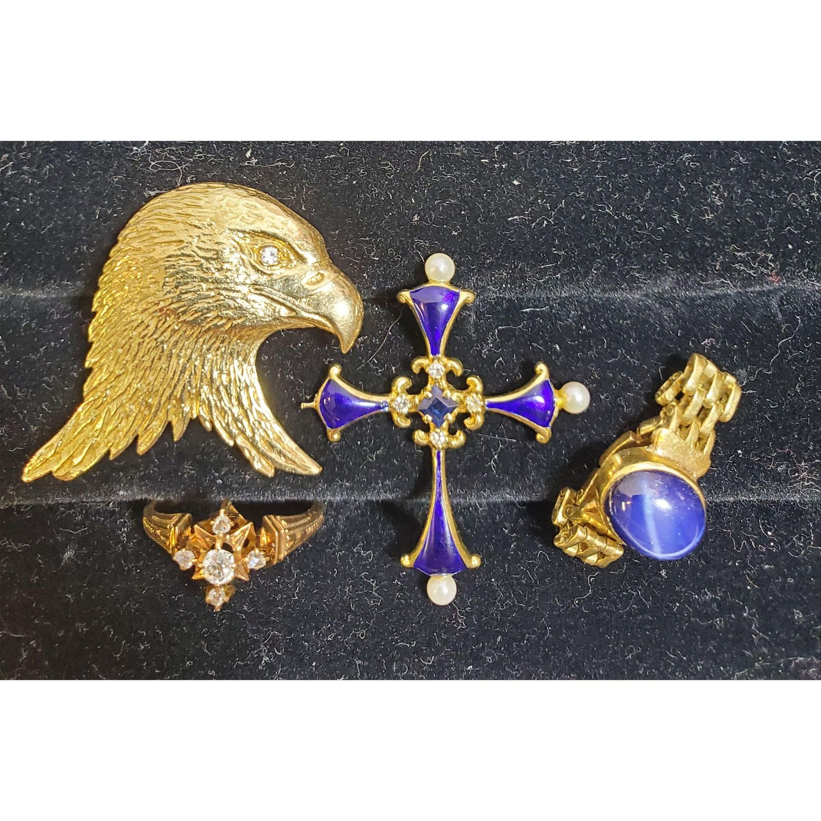 Estate Jewelry Lot 14K Gold, Diamond Ring, Sapphire