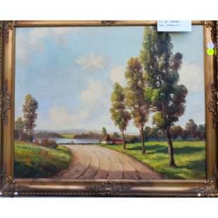 Oil on Canvas L Minnear Landscape