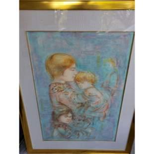 Large Edna Hibel Lithograph 196296 Mother wChildren