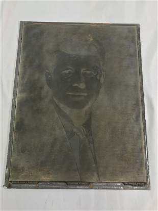 John F Kennedy Engraving Plate Boston Fabian Bachrach