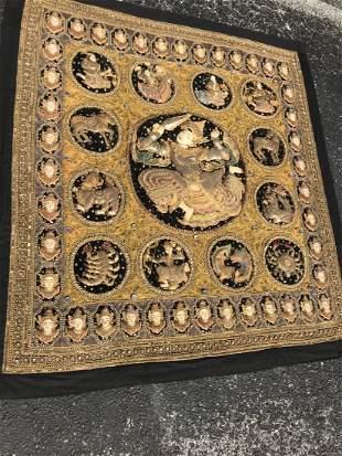 Large Hand Sewn Beaded Kalaga Thailand Tapestry