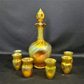 L.C. Tiffany- Steuben Aurene Decanter & 6 glasses