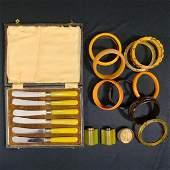 Vintage Lot of Bakelite Bracelets, Knives, etc...
