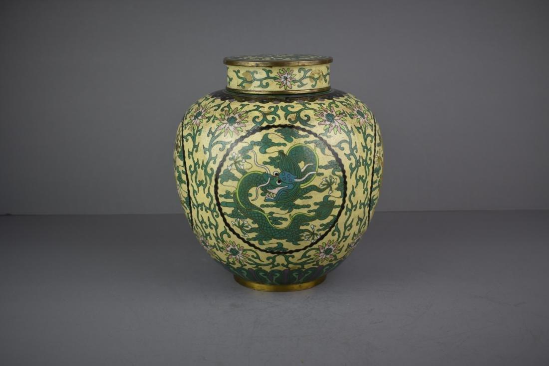 CHINESE QING DYNASTY CLOISONNE DRAGON JAR